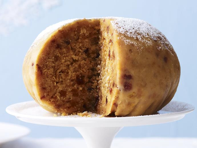 "**Golden boiled pudding** <br><br> We used Grand Marnier in this recipe, but you could use any citrus-flavoured liqueur you like. Serve warm with lashings of cream, custard or sauce. <br><br> [**Read the full recipe here**](https://www.womensweeklyfood.com.au/recipes/golden-boiled-pudding-12668|target=""_blank"")"