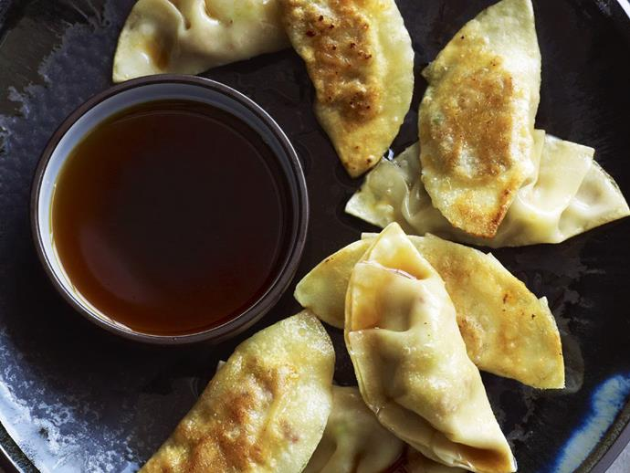"**[Gyoza with soy vinegar sauce](https://www.womensweeklyfood.com.au/recipes/gyoza-with-soy-vinegar-sauce-6440|target=""_blank"")**  Gyoza are Japanese dumplings, usually pork but sometimes vegetable, that are steamed and then fried, before being dunked in sauce, in this case our delicious soy vinegar sauce."