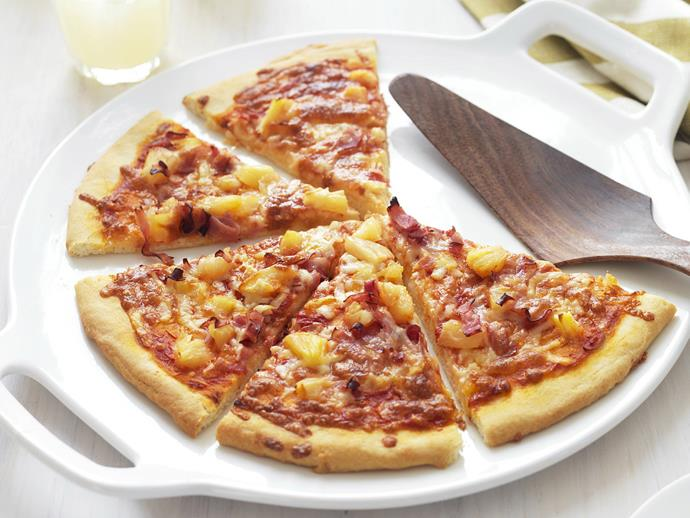 "**[Ham and pineapple pizza](http://www.womensweeklyfood.com.au/recipes/ham-and-pineapple-pizza-6688|target=""_blank""):** The humble Hawaiian pizza is a flavour combination loved all over the world. Delight the masses with a fluffy, golden pizza topped with crispy ham, sweet, juicy pineapple and oozy melted cheese."