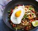Nasi goreng with chicken and shrimp