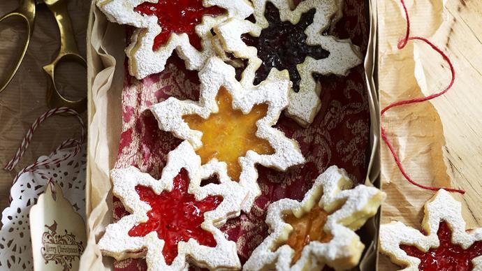 Jam shortbread snowflakes