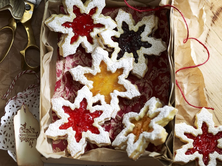 "**[Jam shortbread snowflakes](https://www.womensweeklyfood.com.au/recipes/jam-shortbread-snowflakes-23970|target=""_blank"")**  We used black cherry, raspberry and apricot jam to make these shortbread snowflakes, but you can use any flavour you like. If you don't have a set of snowflake cutters, stars are very pretty too."