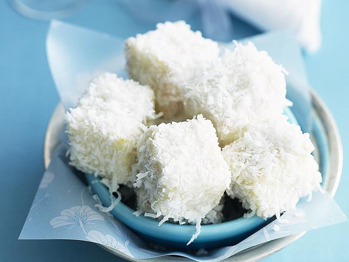 "If you're looking for a new twist on an old favourite, these [little white chocolate lamingtons](https://www.womensweeklyfood.com.au/recipes/little-white-lamingtons-8938|target=""_blank"") are the business. Bite-sized pieces of feather-light sponge, dipped in white chocolate and coated in moist shredded coconut."