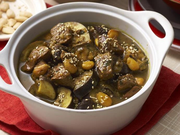 "This [lamb, eggplant and prune tagine](https://www.womensweeklyfood.com.au/recipes/lamb-eggplant-and-prune-tagine-6362|target=""_blank"") is rich, unctuous and utterly delicious. Best served on a pile of fluffy couscous with preserved lemon."