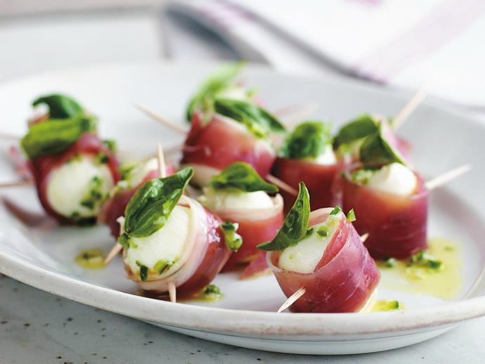 """**[Marinated baby bocconcini with prosciutto](https://www.womensweeklyfood.com.au/recipes/marinated-baby-bocconcini-with-prosciutto-6917