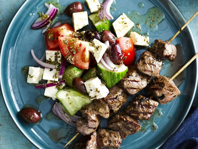 Marinated Greek lamb skewers via [Food To Love](http://www.foodtolove.com.au/recipes/marinated-greek-lamb-skewers-18326).