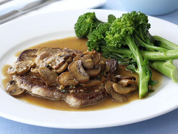 """**[Minute steaks with mushroom sauce and broccolini](https://www.womensweeklyfood.com.au/recipes/minute-steaks-with-mushroom-sauce-and-broccolini-6618