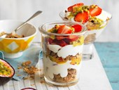 Strawberry and passionfruit breakfast trifle