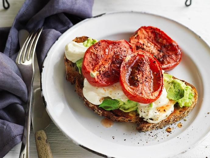 toast with avocado, tahini and sumac tomatoes