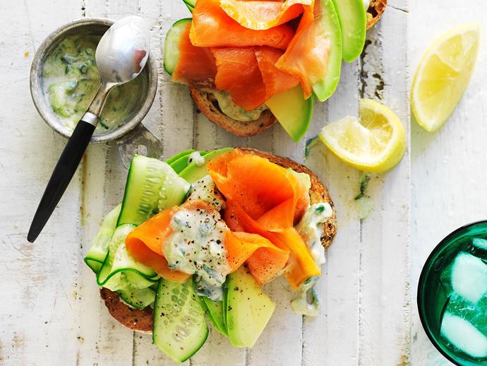 **Avocado and trout with fennel tzatziki**  A delicious, colourful and healthy avocado and trout with fennel tzatziki breakfast dish.