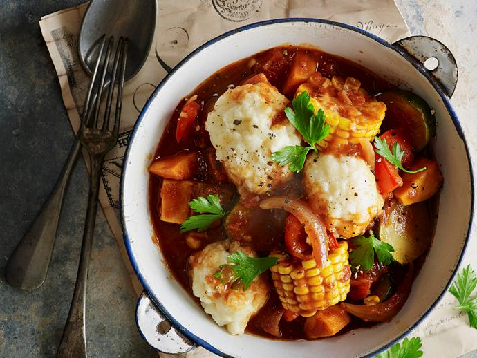 "Looking for a twist on the classic winter stew? Get creative in the kitchen with this [hearty vegetable stew with delicious polenta dumplings](https://www.womensweeklyfood.com.au/recipes/vegetable-stew-with-polenta-dumplings-28659|target=""_blank"")."