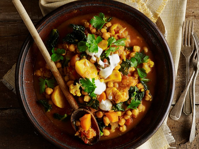 "[Moroccan chickpea stew](https://www.womensweeklyfood.com.au/recipes/moroccan-chickpea-stew-28660|target=""_blank"")"