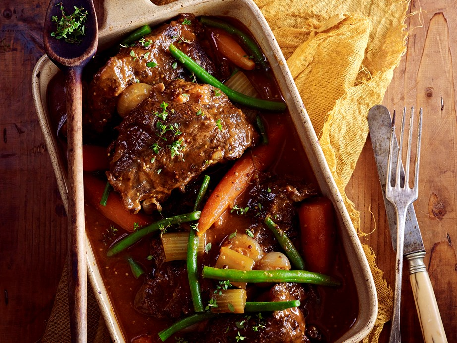 "These slow-cooked [beer and thyme beef cheeks](https://www.womensweeklyfood.com.au/recipes/beer-and-thyme-beef-cheeks-28661|target=""_blank"") come together over a leisurely 9 hours without you having to worry about a thing!"