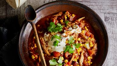 Shredded Mexican chicken and beans