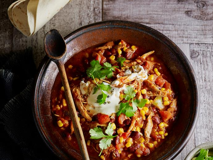 "**[Shredded Mexican chicken and beans](https://www.womensweeklyfood.com.au/recipes/shredded-mexican-chicken-and-beans-28663|target=""_blank"")**  The delicious combination of tender shredded chicken and slow cooked beans makes this slow cooker Mexican dish absolutely delicious. Enjoy it warm for a family weeknight dinner."