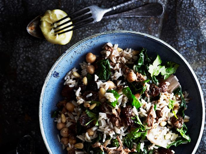 "Warm your body and soul with this hearty [lamb, spinach and chickpea rice pilaf](https://www.womensweeklyfood.com.au/recipes/lamb-spinach-and-chickpea-rice-pilaf-28667|target=""_blank""). It's utterly delicious and packed full of flavour and protein to keep you charged through the cooler months."
