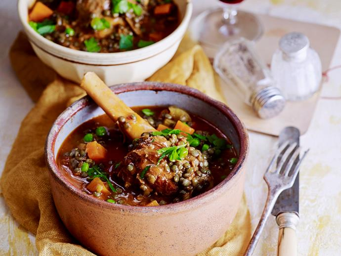 """Succulent [lamb shanks with hearty lentils and pancetta](https://www.womensweeklyfood.com.au/recipes/lamb-shanks-with-lentils-and-pancetta-28668