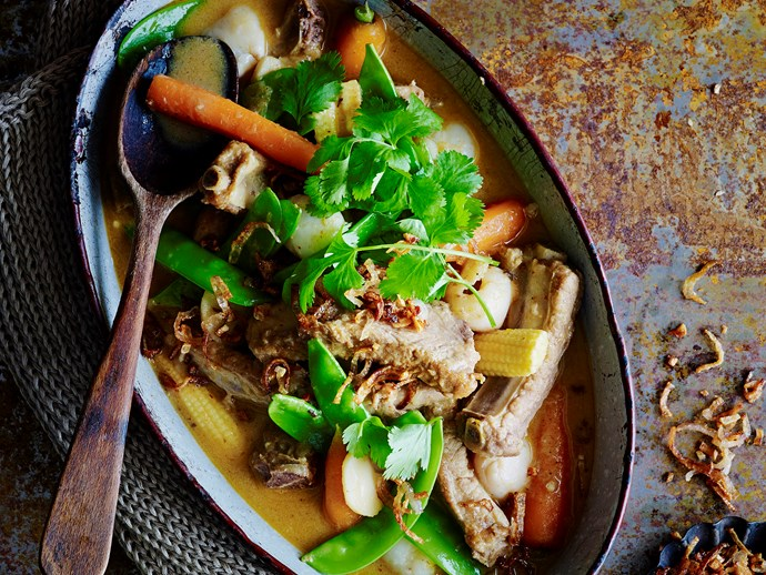 "[Red pork with lychee curry.](https://www.womensweeklyfood.com.au/recipes/red-pork-and-lychee-curry-28672|target=""_blank"")."