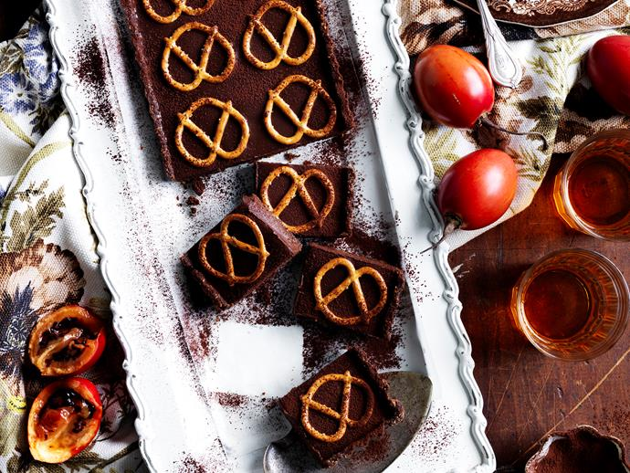 "[Chocolate and pretzel tart recipe.](https://www.womensweeklyfood.com.au/recipes/chocolate-and-pretzel-tart-9031|target=""_blank"")"