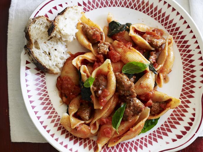 "**[Pasta with Italian sausage](https://www.womensweeklyfood.com.au/recipes/pasta-with-italian-sausage-15597|target=""_blank"")**  This recipe utilises the classic Italian technique of removing sausage meat from the casing before cooking. It makes for a tasty, succulent pasta with sausage meat in a savoury tomato sauce."