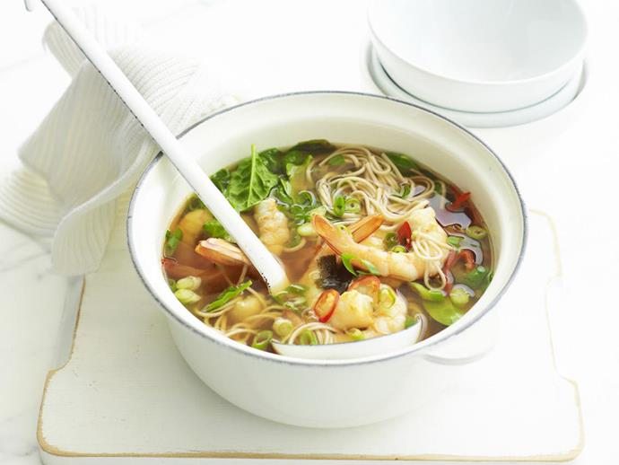 "**[Prawn and shiitake miso soup](https://www.womensweeklyfood.com.au/recipes/prawn-and-shiitake-miso-soup-7016|target=""_blank"")**  This classic Japanese miso soup combines silken tofu with prawns for a light, soothing meal that can be enjoyed all year long."