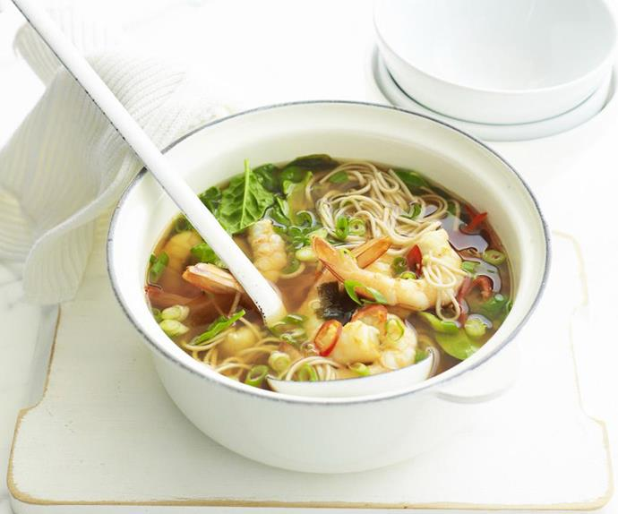 Prawn and shiitake miso soup
