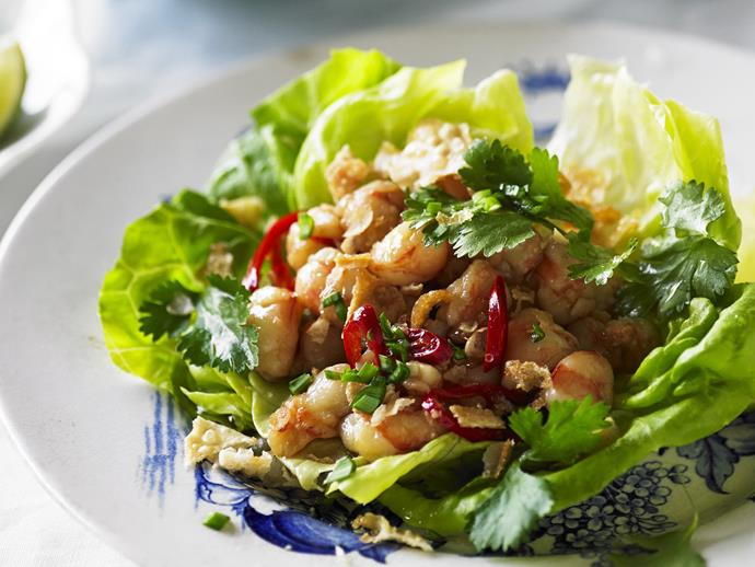 "**[Prawn sang choy bow](https://www.womensweeklyfood.com.au/recipes/prawn-sang-choy-bow-6383|target=""_blank"")**  Crisp lettuce cups, juicy prawns, zesty lime, chilli and ginger make every mouthful of prawn sang choy bow a delight. Use baby lettuce leaves to serve this as finger food at a cocktail party."