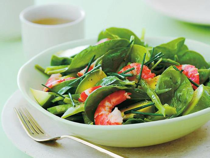 "**[Prawn and avocado salad with ginger dressing](https://www.womensweeklyfood.com.au/recipes/prawn-and-avocado-salad-with-ginger-dressing-6895|target=""_blank"")**  Fresh ginger dressing really brings this prawn and avocado salad to life. Perfect for a light lunch on the deck with friends, served with crusty bread and dry white wine."