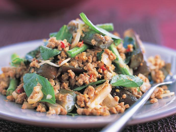 "**[Pork with eggplant (muu pad makeua)](https://www.womensweeklyfood.com.au/recipes/pork-with-eggplant-muu-pad-makeua-6930|target=""_blank"")**  This Thai dish with succulent baby eggplants, tender snake beans and plenty of spiced pork mince is great as part of a banquet-style spread, or served with noodles as a light dinner."