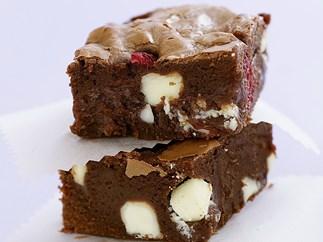 Raspberry and white chocolate brownie