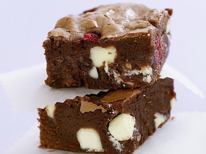 "[Raspberry and white chocolate brownie](https://www.womensweeklyfood.com.au/recipes/raspberry-and-white-chocolate-brownie-10112|target=""_blank"")"