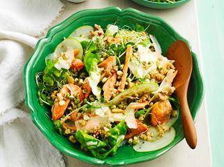 Smoked trout, sprout and apple salad