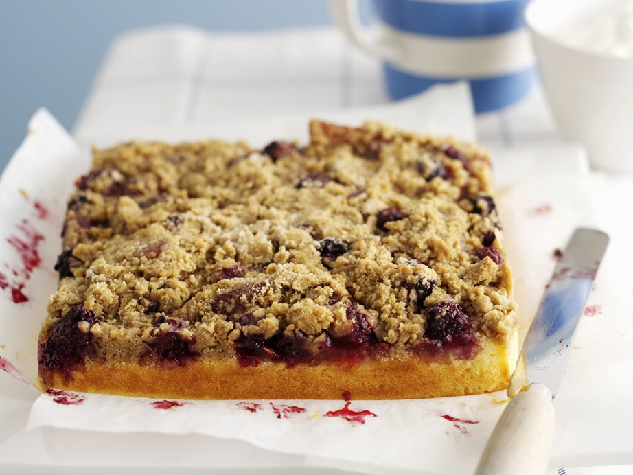 """What do you get when you cross a crumble with a cake? This [quince and blackberry crumble cake!](https://www.womensweeklyfood.com.au/recipes/quince-and-blackberry-crumble-cake-6617