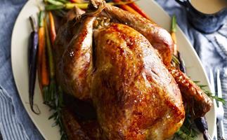 Roast turkey with roast almond stuffing