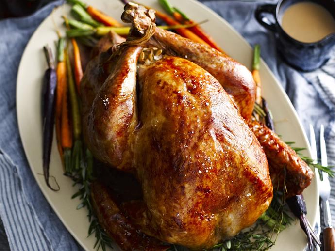 """**[Roast turkey with toasted almond stuffing](https://www.womensweeklyfood.com.au/recipes/roast-turkey-with-toasted-almond-stuffing-15859 target=""""_blank"""")**  Toasted almonds make a delicious, nutty stuffing for this magnificent roast turkey. Remember, if you're roasting based on weight you should weigh the bird after you stuff it."""
