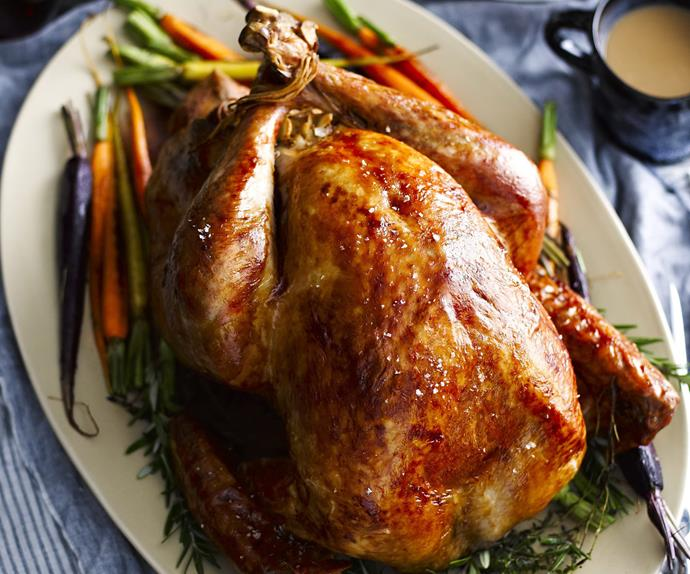 Roast turkey with roast almond stuffing