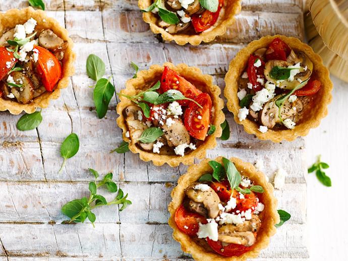 "[Mushroom and tomato tarts](https://www.womensweeklyfood.com.au/recipes/mushroom-and-tomato-tarts-1-28679|target=""_blank"")  *Gluten-free and dairy-free with omission of feta (or dairy-free cheese)*"