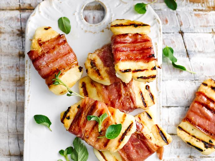 "[Prosciutto wrapped haloumi](https://www.womensweeklyfood.com.au/recipes/prosciutto-wrapped-haloumi-28680|target=""_blank"")  *Gluten-free - contains dairy*"