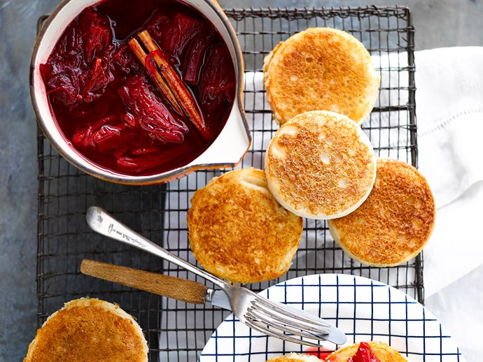 """Treat your mum to these **[fluffy homemade crumpets with sweet rhubarb compote.](https://www.womensweeklyfood.com.au/recipes/crumpets-with-rhubarb-compote-28681