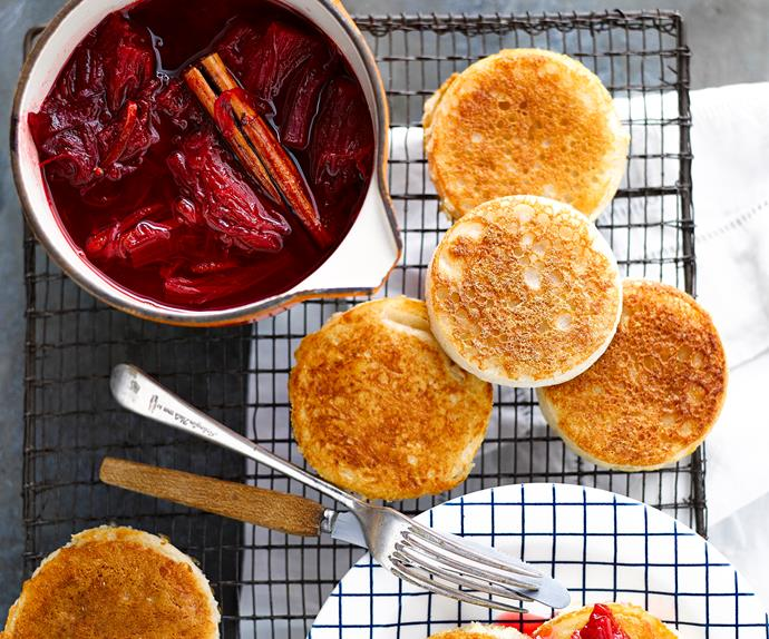 Crumpets with rhubarb compote