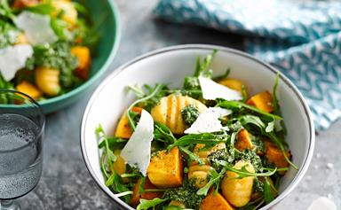 Potato and pumpkin gnocchi with rocket pesto