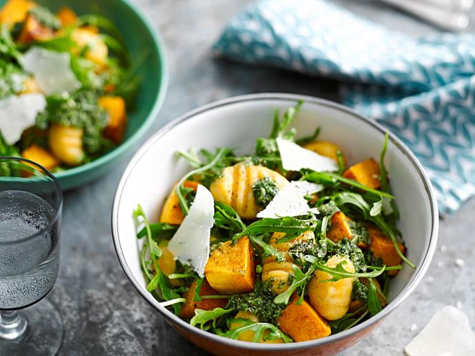 "[Potato and pumpkin gnocchi with rocket pesto](https://www.womensweeklyfood.com.au/recipes/potato-and-pumpkin-gnocchi-with-rocket-pesto-28683|target=""_blank"")  *Gluten-free and could be dairy-free by omitting parmesan*"