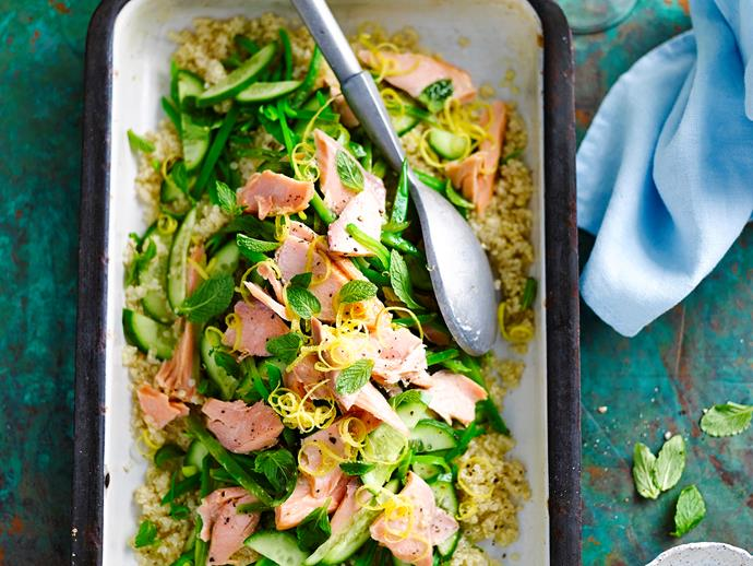 "**[Salmon and quinoa salad](http://www.womensweeklyfood.com.au/recipes/salmon-and-quinoa-salad-28686|target=""_blank"")**"