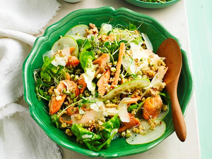 "**Smoked trout, sprout and apple salad** <br><br> This gorgeous fresh salad pairs flakey smoked trout, juicy apple and roasted walnuts to create a beautiful dish for dinner parties or a healthy lunch in no time at all. <br><br> [**Read the full recipe here**](https://www.womensweeklyfood.com.au/recipes/smoked-trout-sprout-and-apple-salad-28678|target=""_blank"")"
