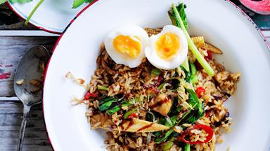 Soft-boiled egg and brown rice nasi goreng