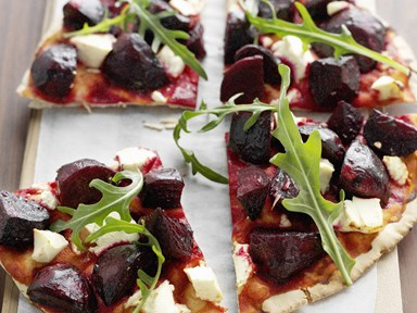 Roasted beetroot and feta pizza