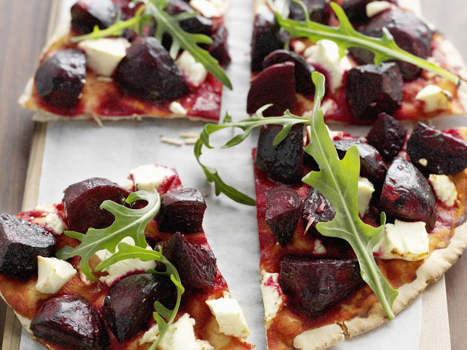 "Sweet, soft beetroot and tangy feta cheese pair beautifully on this [beetroot and feta pizza](https://www.womensweeklyfood.com.au/recipes/roasted-beetroot-and-feta-pizza-6987|target=""_blank"")."