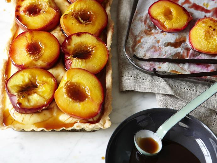"Roasting stone fruits intensifies their flavour as well as drawing out their natural sweetness, which helps make this [roast nectarine tart](https://www.womensweeklyfood.com.au/recipes/roast-nectarine-tart-6852|target=""_blank"") exceedingly delicious. Serve warm with lashings of cream."