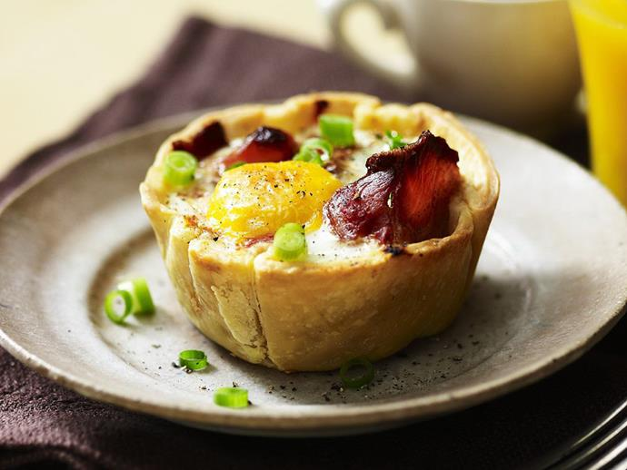 "Mmm mmm, breakfast in a pie. These [sausage, egg and bacon pies](https://www.womensweeklyfood.com.au/recipes/sausage-egg-and-bacon-pies-15610|target=""_blank"") are delicious for breakfast or brunch, and also make great after-school snacks."