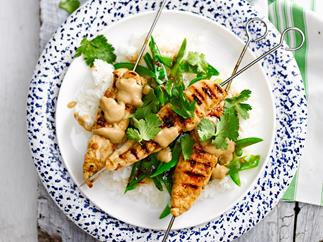 Peanut-free satay chicken skewers